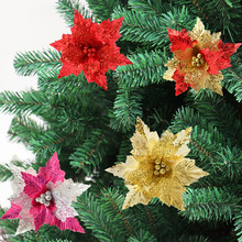 Christmas Glitter Flower DIY Wedding Artificial Flowers Christmas Tree Ornaments Decoration Big Plastic Simulation Flower(China)