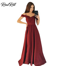 Real Rill Off The Shoulder Prom Dresses 2019 Spaghetti Straps Lace Up Back Floor Length A-Line Evening Gown Satin Long Dress цена 2017