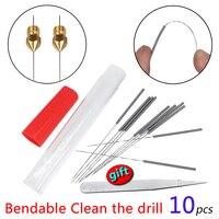 Herramienta de limpieza de boquillas, broca flexible para aguja de limpieza, acero inoxidable, extrusora de piezas de impresora 3D MK8 E3D v6 Hotend, 10 Uds.