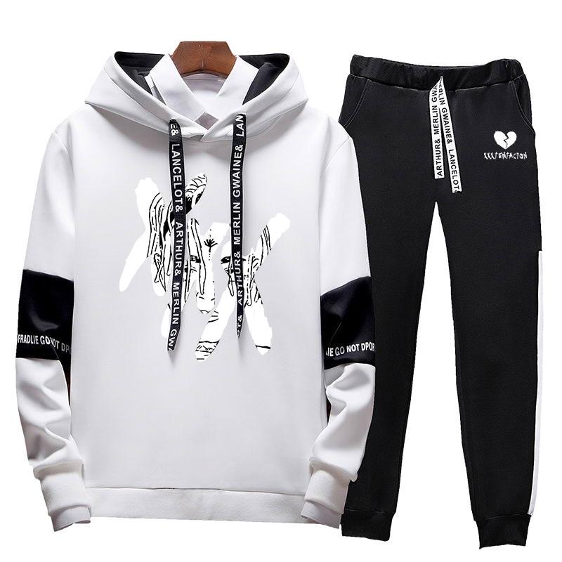 2020 Men's New Casual Hip Hop XXXTentacion Printed Sweatshirt Set Hoodies + Pants 2 Sets Of Pullovers