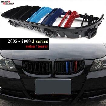 M Tri-colour Replacement Bumper Kidney Grille Mesh Grid for BMW E90 Sedan E91 Tourer 2005 - 2007 3 Series (Not for M3 Models)