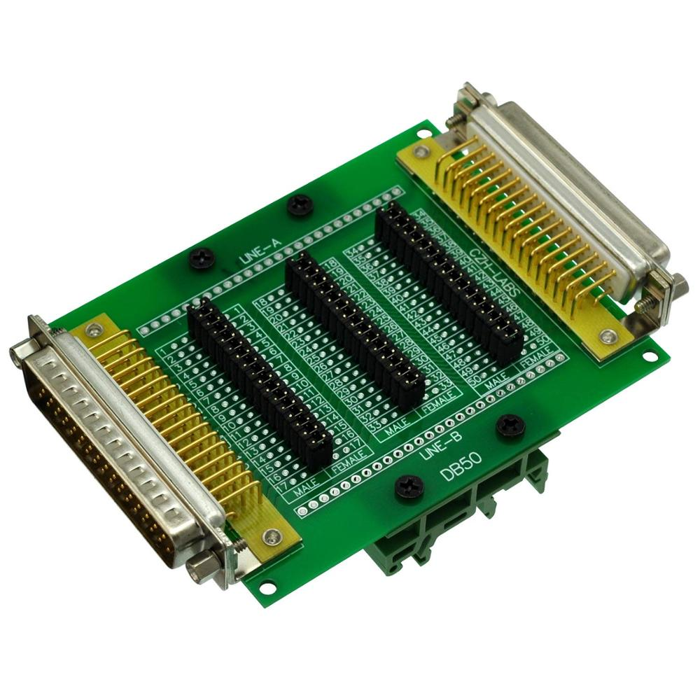 CZH-LABS DIN Rail Mount D'sub DB50 Diagnostic Test Breakout Board, DSUB DB50 Connector Male To Female.