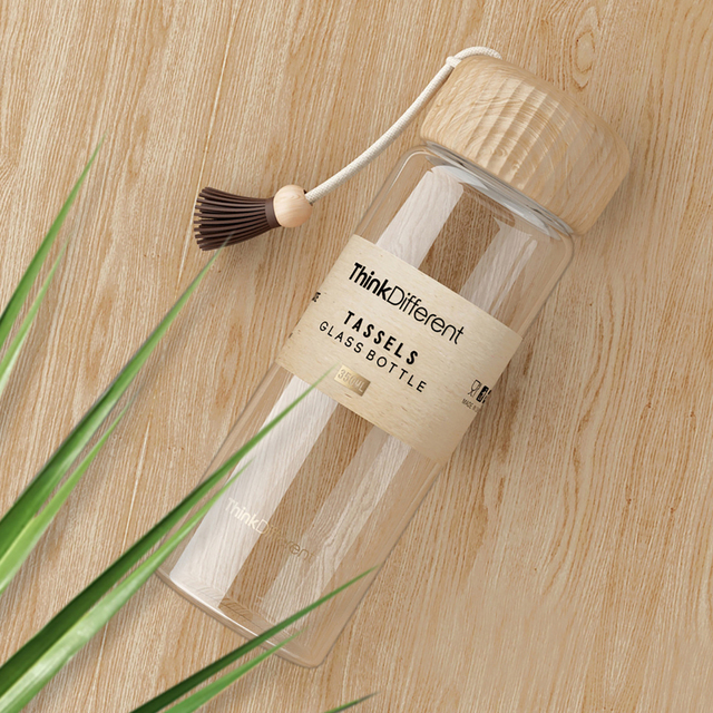 Borosilicate Glass Water Bottle 350ml Wooden Pattern Cover Tea Glass Bottles Drink Milk Cup Coffee Mug Hydro Flask Waterbottle 3