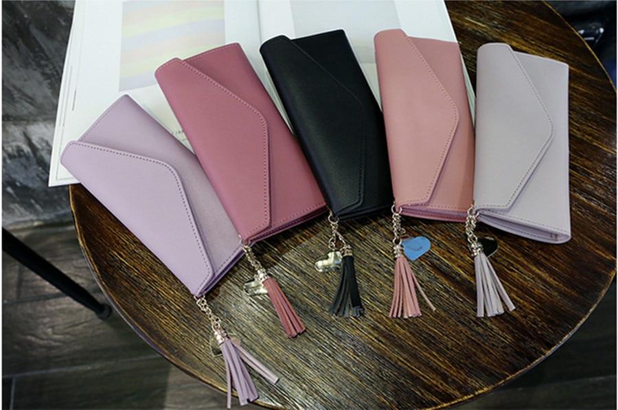 2020 Fashion Ladies Wallet Simple Zipper Love Tassel Wallet Long Clutch Soft PU Leather Money Bag