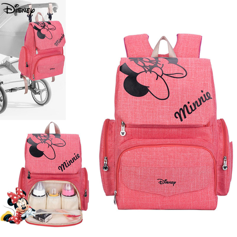 Disney Minnie Mickey Mouse Baby Diaper Bags Backpack Large Capacity Nappy Bag Travel Nursing Bag For Baby Care Women's Bag