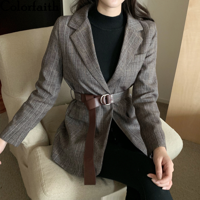Colorfaith New 2019 Autumn Winter Women's Blazers  Button With Belt Pockets Formal Jackets Outerwear England Style Tops JK6561