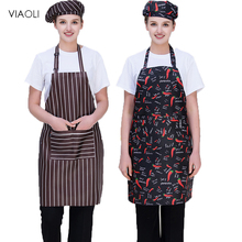 Viaoli Wholesale Adjustable Striped Chef Aprons with Pockets Sleeveless Adult Men Women Apron Kitchen Cooking Tools Plaid Bibs