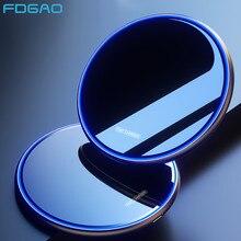 Fdgao 15w qi carregador sem fio para iphone 11 xs x xr 8 airpods pro indução rápida almofada de carregamento para samsung s20 s10 xiaomi mi 10 9