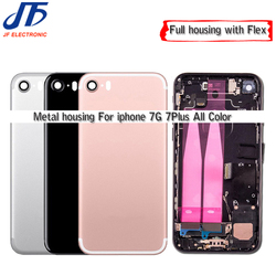 10pcs New metal Back Middle Frame Chassis Full Housing Assembly Battery Cover with Flex Cable For iphone 7 7G Plus Repair Parts
