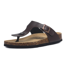 夏男性コルクスリッパpuレザー男性のサンダルのファッションのフリップは、男性ミュール下駄スリッパ靴