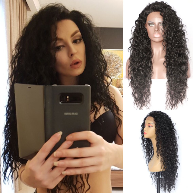 BeautyTown Kinky Curly Type Futura Heat Resistant Hair Black Color Women Daily Makeup Synthetic Lace Front Party Wigs