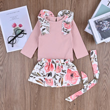 2020 Newborn Toddler Baby Girls Solid Romper +Floral Skirts+Headband Outfits Clothes Baby Girl Clothes Baby Girl Dress Clothes cheap MUQGEW Fashion Full Covered Button O-Neck Regular Coat Polyester Fits true to size take your normal size