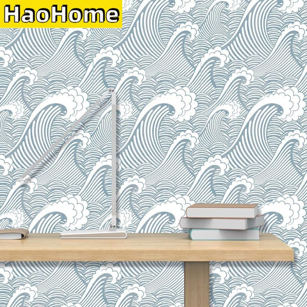 HaoHome Blue White Waves Peel and Stick Wallpaper Handpainting Seamless Spray Self-Adhesive Prepasted Wallpaper Wall Mural