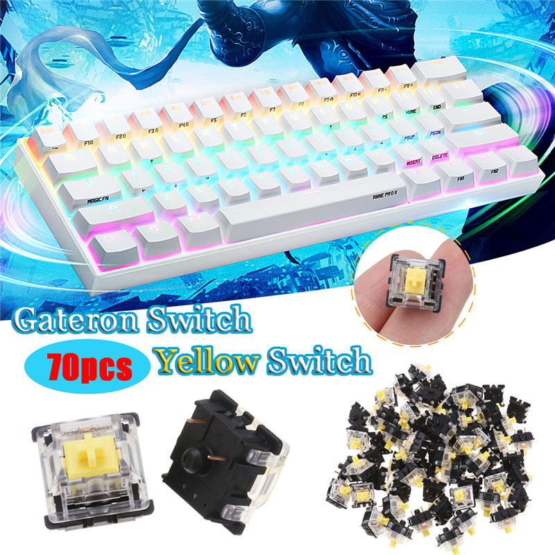 LEORY 70PCS Yellow Pack Gateron Linear Switch Keyboard Switch 3Pin  For Mechanical Gaming Keyboard
