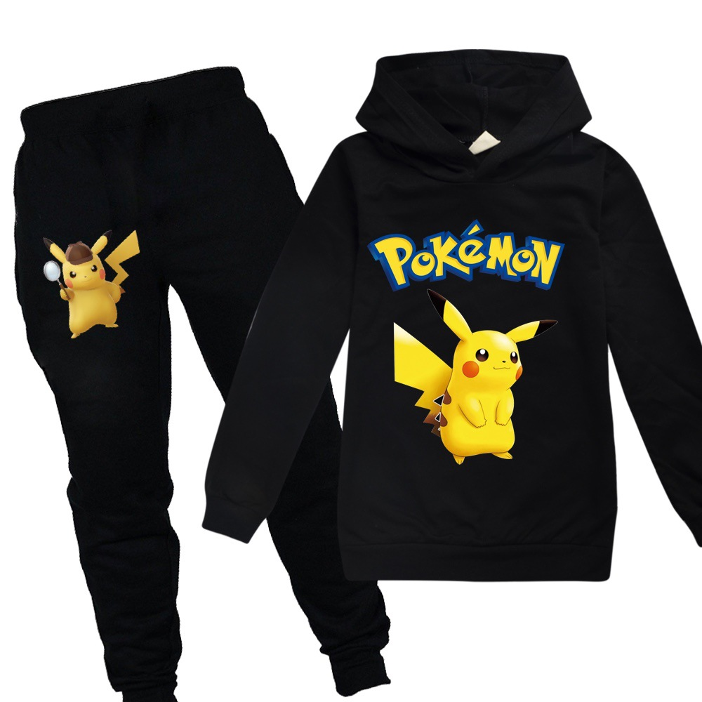 Baby Boys Pokemon Go Detective Pikachu Clothes Autumn Sweatshirt 2pcs Cotton Cartoon Long Sleeve Sport Girls Hoodies Hooded Set