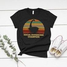 Loch Ness Monster Nessie Sozialen Distanziert Champion T-shirt Lustige Mythos Unisex Frauen und Kinder T shirt