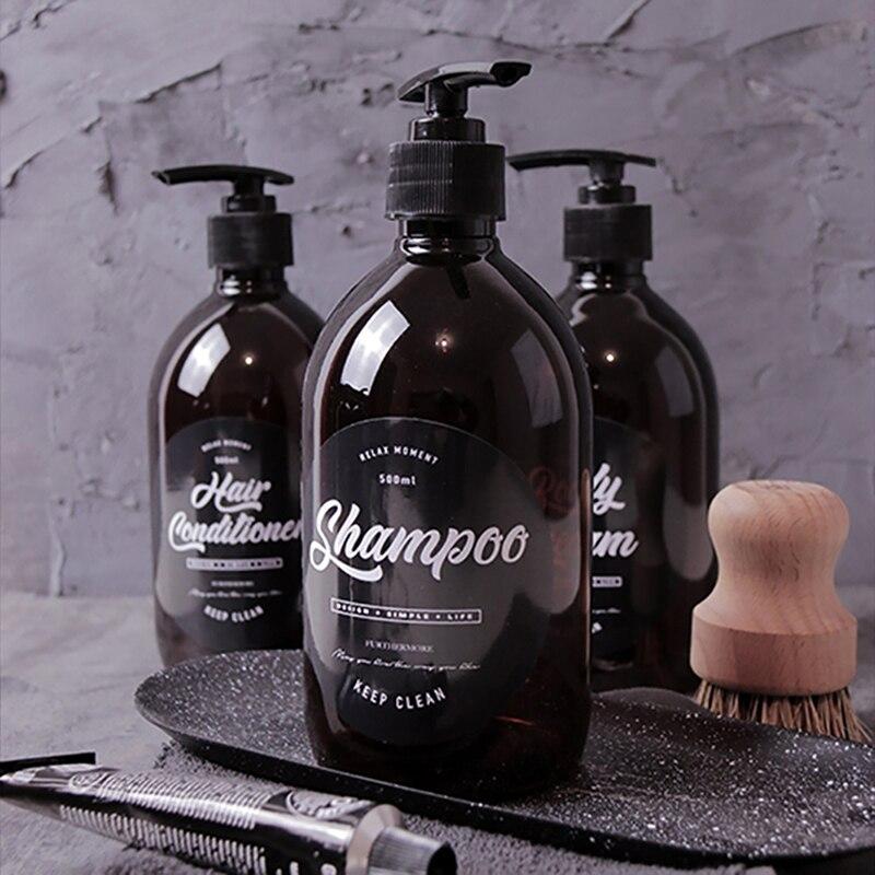 3PCS Shampoo Bottles Bathroom Washing Set Body Wash Hair Conditioner 500ml Brown Plastic Liquid Soap Dispenser plastic container