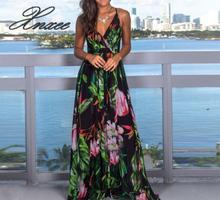 2019 summer new womens dress straps printed beach vestido de novia