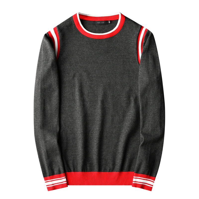 New Men Luxury Gentleman Cotton Embroidery Red White Striped Casual Sweaters Pullover Asian Plug Size High Quality Drake #N30