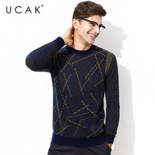 UCAK Brand 100% Merino Wool Sweater Men Streetwear Fashion Striped Pull Homme Autumn Winter Pullover Men Cashmere Sweaters U3079