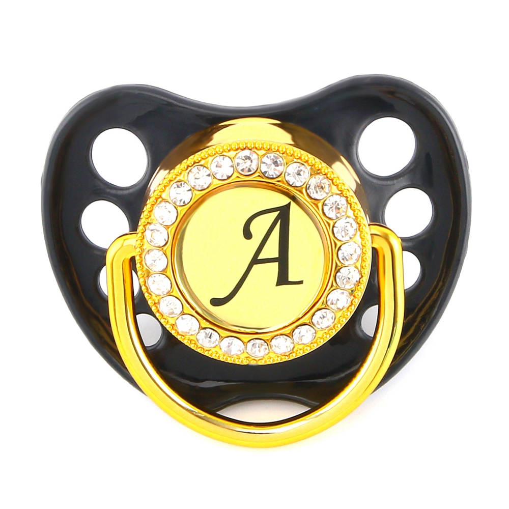 Bling Bling Initials Letter Rhinestone Black Baby Pacifier/ Nipples /Dummy /Cocka /Chupeta Baby Gift Baby Shower