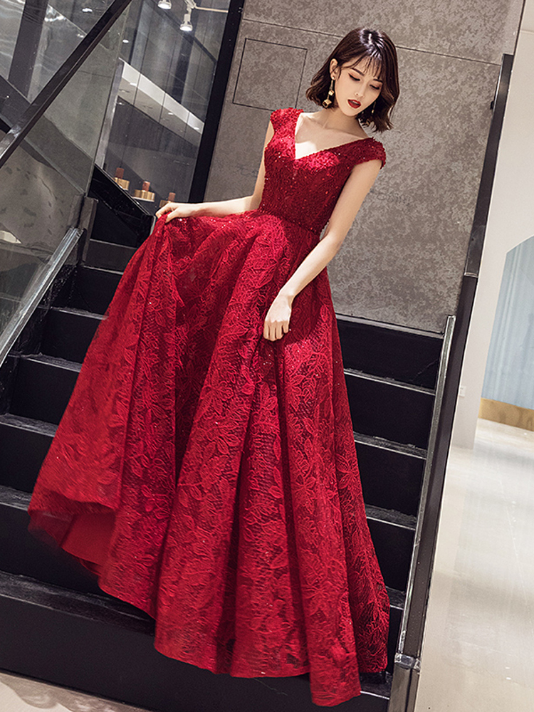 Long Evening Dresses Cap Sleeves Lace Sequins Prom Dress Elegant Beading Embroidery Formal Gowns Vestidos De Gala Ladies Gown