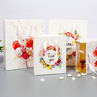 10pcs/lot Boutique Tote Bag Hot Stamping Craft Gift Bag Valentine's Day Paper Bags High grade White Cardboard Shopping Bags