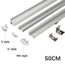 1 مجموعة 50 سنتيمتر عمود إضاءة LED أضواء الألومنيوم الشخصي شفاف/غطاء لبني U/V/YW نمط على شكل ل LED قطاع ضوء أجزاء
