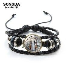 Sanda Katholieke Saint Benedict Medaillon Bedelarmband Vintage Black Multilayer Lederen Armbanden Voor Vrouwen Mannen Gift Polsbandje