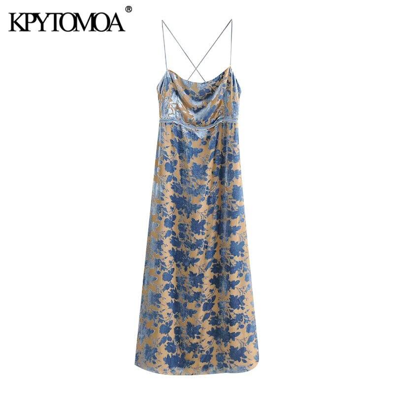 KPYTOMOA Frauen 2020 Chic Mode Samt Zurück Gekreuzte Riemen Midi Kleid Vintage Seite Vents Mit Futter Weibliche Kleider Vestidos