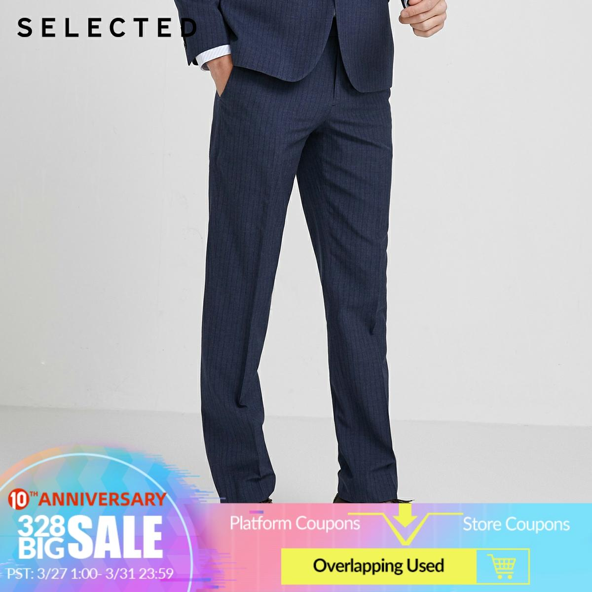 SELECTED Men's Slim Fit Striped Business Casual Suit Pants SIG|42016A502