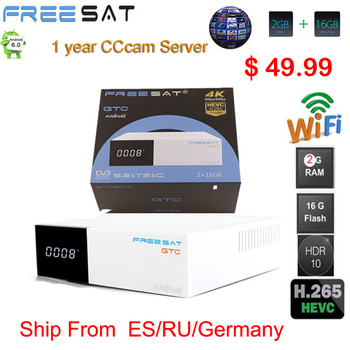 FREESAT gtmedia GTC Android 6.0 TV BOX DVB-S2/T2/Cable/ISDBT Amlogic S905D 2GB RAM 16GB ROM freesat + 1 year free CCcam gift