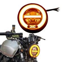 6.8 Motorcycle LED Headlamp Daylight yellow Modification Headlight Halo Ring Yellow Headlight with Bracket 6 5inch universal retro motorcycle modification led headlight lamp with guard cover yellow driving light gn125 250