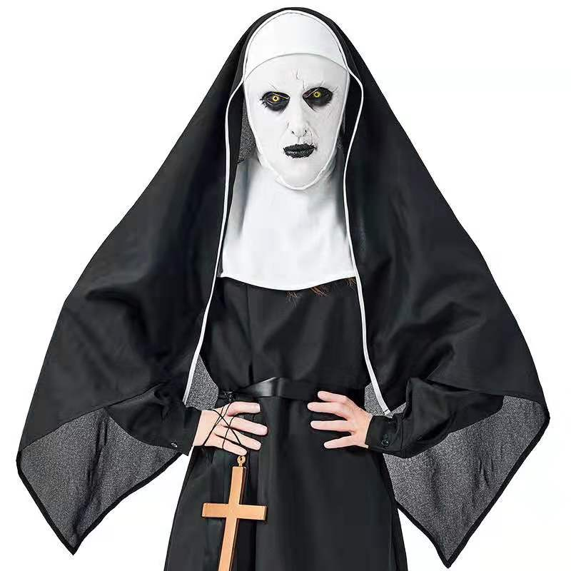Newest Movie The Nun High Quality Costume Set Halloween Cosplay Horror The Nun Costume Dress Headscarf Cross Robe loose clothes