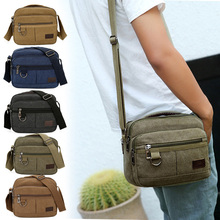 Men Canvas Satchels Solid Joker Large Capacity Casual Messenger Bag for Outdoor OH66