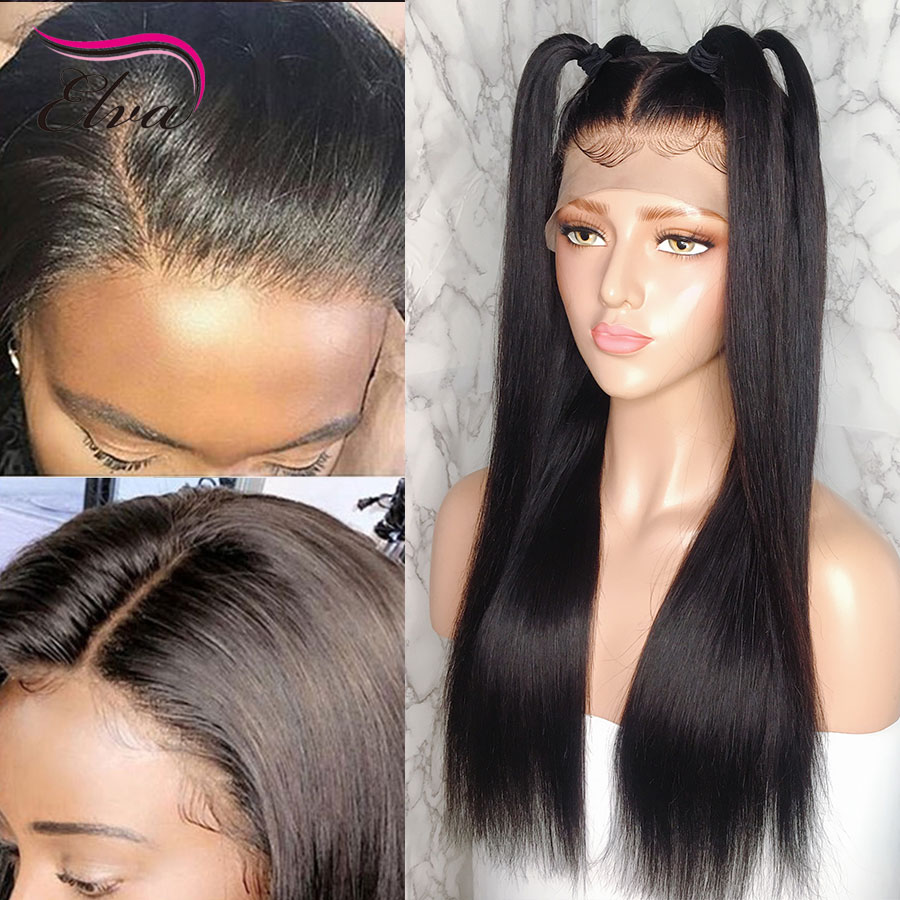 Elva Hair 13x6 Lace Front Human Hair Wigs For Black Women Pre Plucked 150% Bleached Knots Straight Remy Hair Wigs With Baby Hair