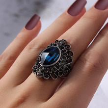 Retro Big CZ Stone Spider Signet Ring Blue Luxury Animal Wed Punk Ring For Female Cocktail Jewelry Bague Femme(China)