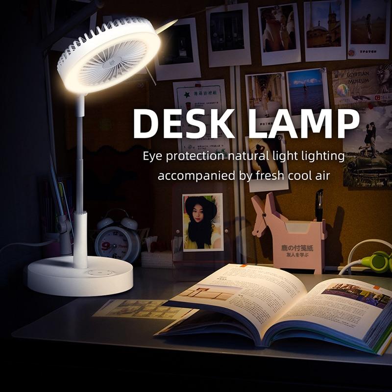 Desk Telescopic Fan USB Rechargeable Cooling Cooler Fan Fill Light Night Light Household Desktop Outdoor Camping Electric Fan