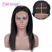BUGUQI парик на шнурке 4 × 4 прямые человеческие волосы парики на шнурке парик бразильский не-Реми предварительно выщипанные волосы парик на шнурке