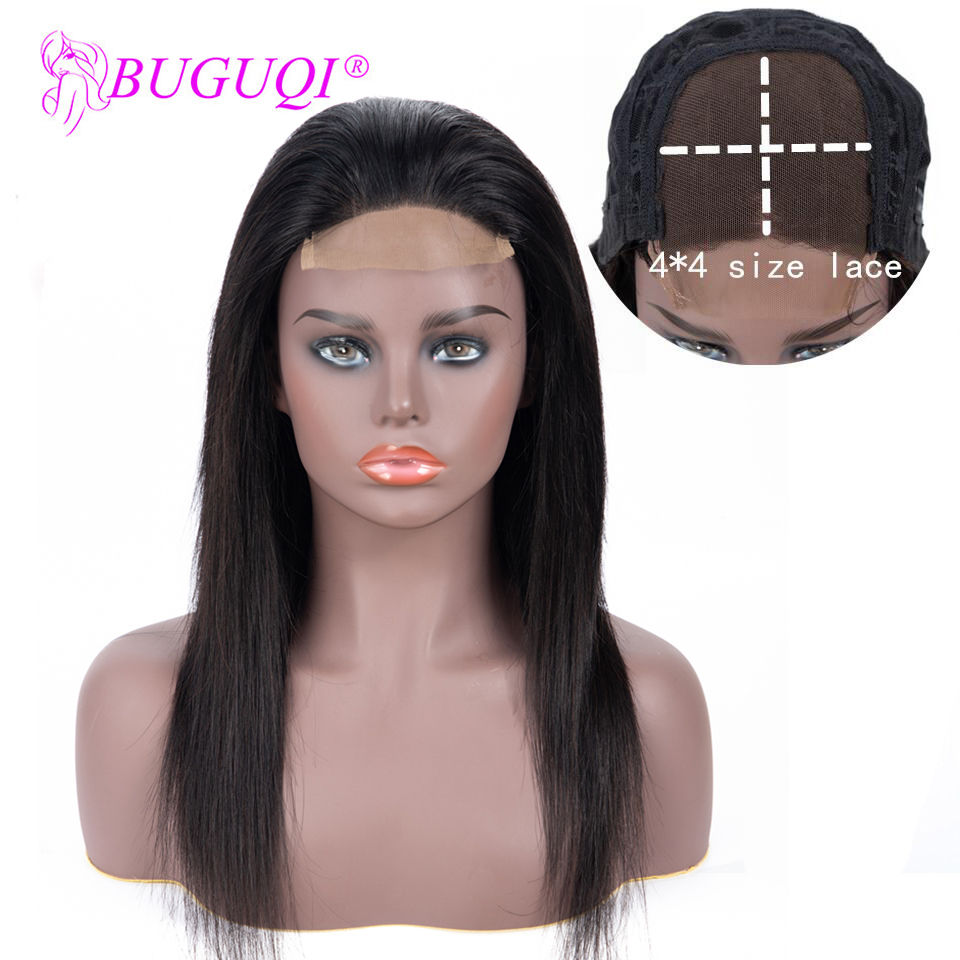 BUGUQI Lace Closure Wig 4×4 Straight Human Hair Wigs Lace Closure Wig Brazilian Non-Remy PrePlucked Hairline Lace Wig