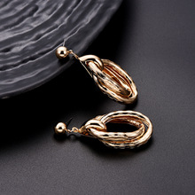 NJ Trendy Exaggerate Big Circle Silver Gold Drop Earrings For Woman Fashion Punk Cool Pendant