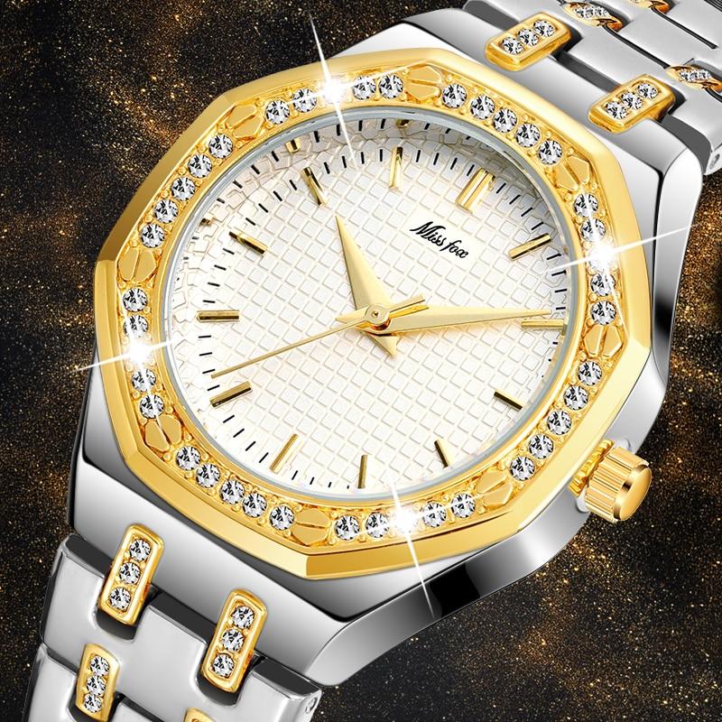 MISSFOX Fashion Watches Women's Expensive 18K Gold Ladies Wrist Watch Women Quartz Classic Analog Diamond Jewelry Hand Watch