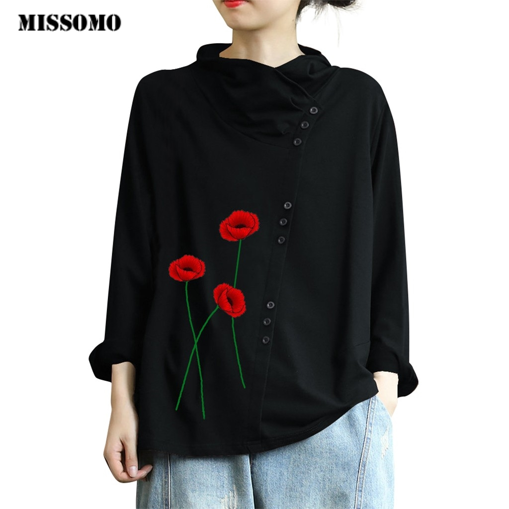MISSOMO Vintage T Shirt Women Spring Long Sleeve Foral Print Print Button Turtleneck Plus Size Women Tops Basic Tops Blusas 5XL