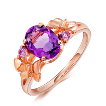 Jewelry Butterfly Rose Gold Color CZ Purple Crystal Rings for Women Girls Wholesale Gift rings