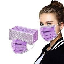 Mascarilla desechable transpirable, máscara facial resistente al viento, a prueba de polvo, color azul, rosa y morado, 10 Uds.