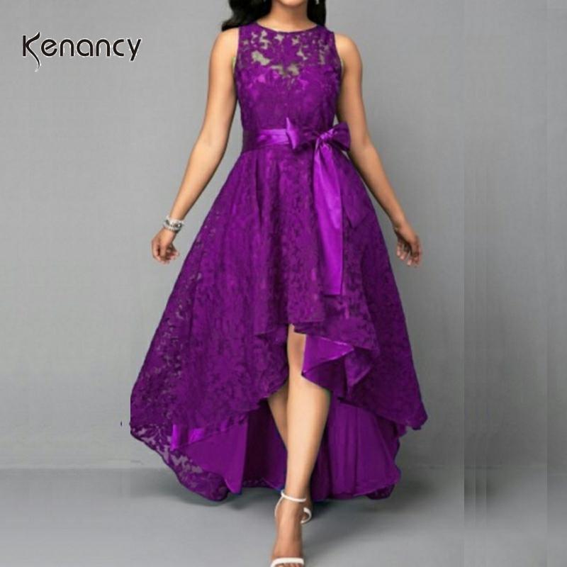 5 Colors Plus Size 5XL Women Lace Party Dress Kenancy High Low Irregular Women Dress Round Neck Sleeveless Belts Party Vestidos