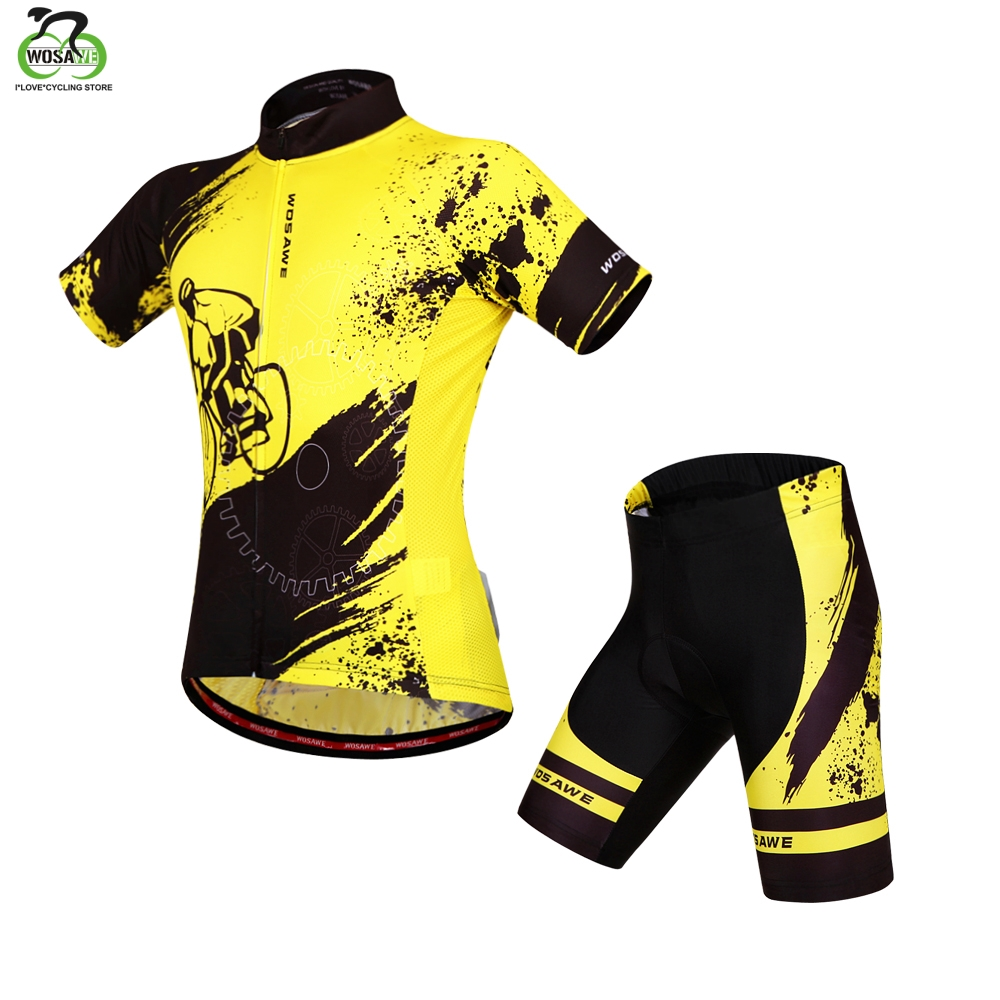 WOSAWE Short Sleeve Cycling Jersey Set cycling Clothing Men Bicycle MTB Mountain Bike Shorts Maillot Jersey Ropa Ciclismo
