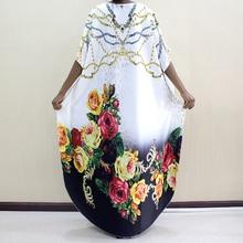 Новое модное Африканское платье Дашики с круглым вырезом и принтом из полиэстера с рукавом летучая мышь благородное длинное платье для женщин элегантное