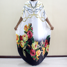 New Fashion African Dashiki Clothes Round Collar Pattern Printed Polyester Batwing Sleeve Noble Long Dress For Women Elegant