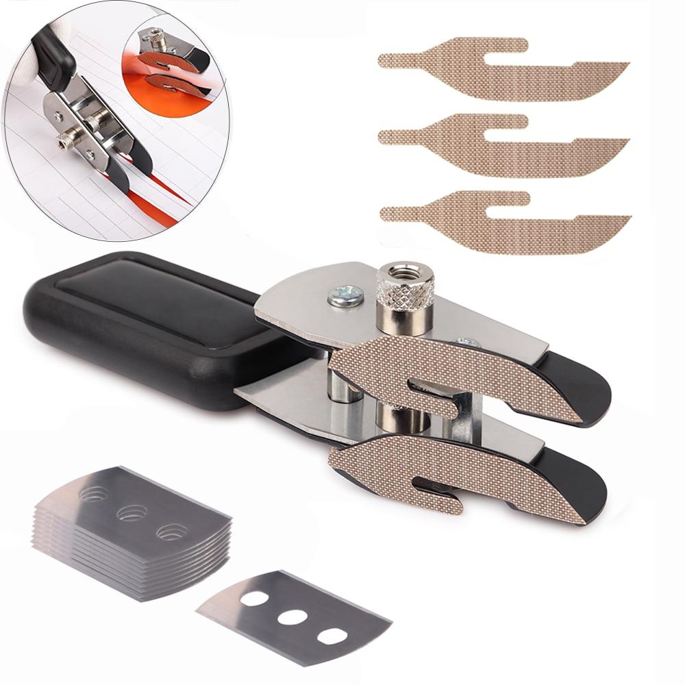FOSHIO Teflon Double-headed Carbon Fiber Film Vinyl Cutter Knife Slitter +10pcs Blade Wallpaper Car Stickers Wrap Cutting Tool(China)